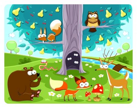 Animals and tree. Vector and cartoon illustration