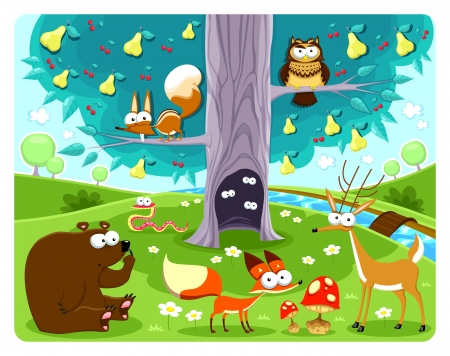 Animals and tree. Vector and cartoon illustration