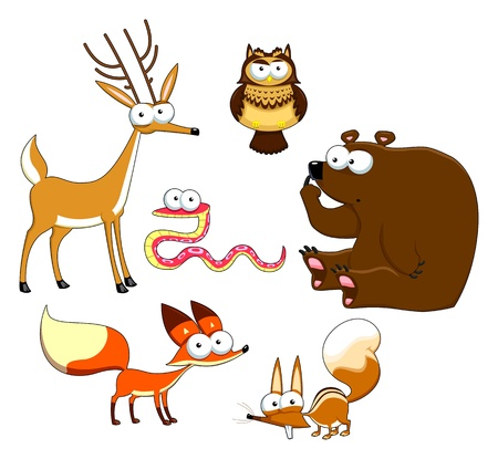 Wood Animals. Funny cartoon, vector, isolated characters. Stock Vector - 16910314