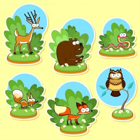 Funny wood animals. Vector and cartoon illustration Ilustrace