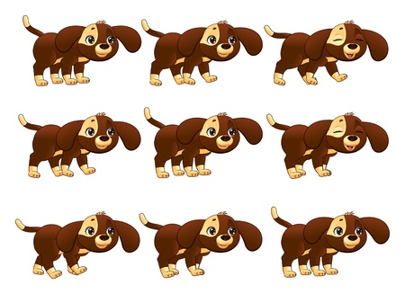 Dog walking animation. Cartoon isolated objects. Vector