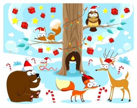 Christmas in the wood. Funny cartoon and vector illustration Vector
