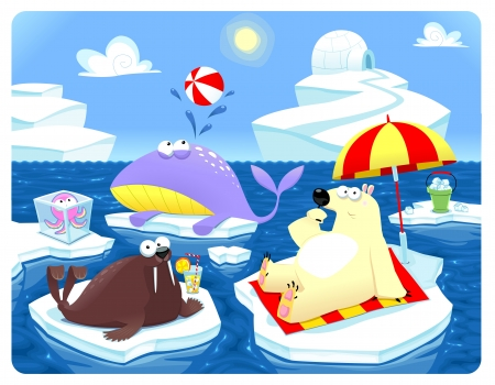 Summer or Winter at the North Pole Stock Vector - 17039621