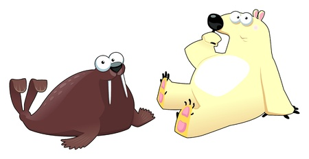Polar animals,funny cartoon Illustration