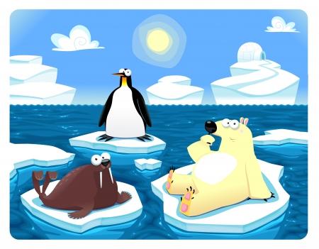 gla�on: Polar sc�ne. Illustration