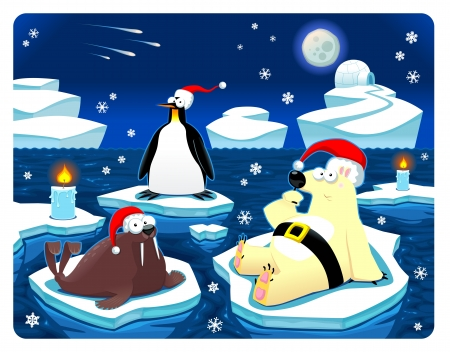 antarctic: Christmas at the North Pole. Funny cartoon and vector illustration Illustration