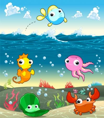 Funny marine family in the sea. Vector and cartoon illustration