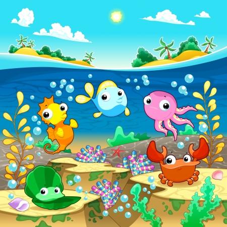 peces caricatura: Familia feliz marina bajo el mar. Vector de dibujos animados e ilustración
