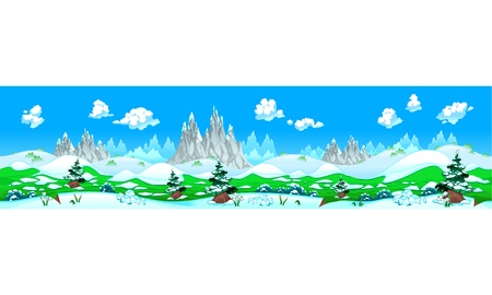 adaptable: Landscape with snow and mountains. Vector illustration with measures: 6144x1536 pixels, adaptable to iPad screen. The sides repeat seamlessly for a possible, continuous animation.