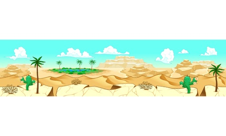 adaptable: Desert with oasis. Vector illustration with measures: 6144x1536 pixels, adaptable to iPad screen. The sides repeat seamlessly for a possible, continuous animation.