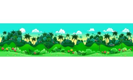 sfondo giungla: Foresta verde. Illustrazione vettoriale con misure: 6144x1536 pixel, adattabili allo schermo iPad. I lati ripetere senza soluzione di continuit� per un possibile, animazione continua.