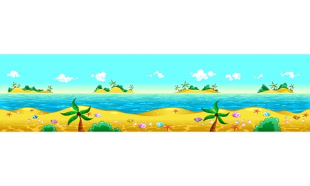 panoramic beach: Seashore and ocean. Vector illustration with measures: 6144x1536 pixels, adaptable to iPad screen. The sides repeat seamlessly for a possible, continuous animation.