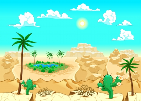 desert oasis: Desert with oasis. Vector illustration. The sides repeat seamlessly for a possible, continuous animation.