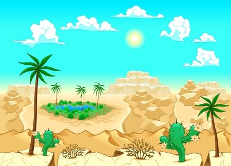 Woestijn met oase. Vector illustratie. De zijkanten herhaalt naadloos voor een mogelijke, continue animatie.