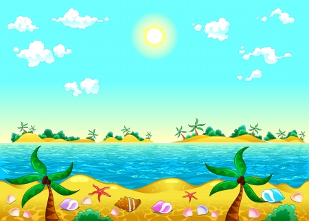panoramic beach: Seashore and ocean. Vector illustration. The sides repeat seamlessly for a possible, continuous animation.