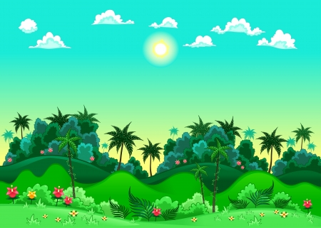 jungle background: Green forest. Vector illustration. The sides repeat seamlessly for a possible, continuous animation.