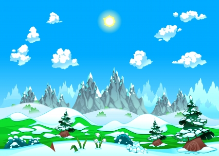 arctic landscape: Landscape with snow and mountains. Vector illustration. The sides repeat seamlessly for a possible, continuous animation. Illustration