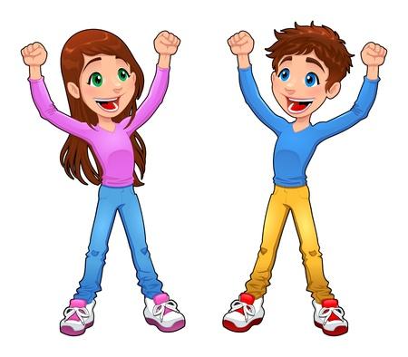 cartoon jongen: Enthousiast jongen en meisje. Cartoon en vector geïsoleerde karakter
