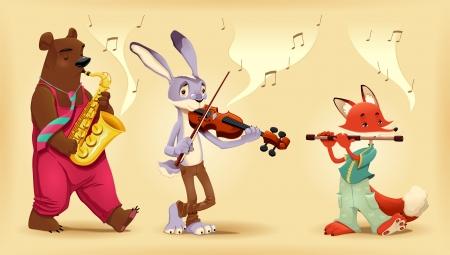 Musician animals. Cartoon and illustration. Stock Vector - 17745212