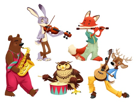 wild rabbit: Musician animals. Cartoon and isolated characters.