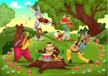 Animaux musiciens dans le bois. Dessin animé et illustration. Vecteurs