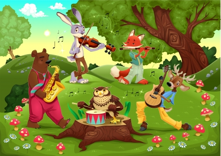 Musicians animals in the wood. Cartoon and illustration. Vettoriali