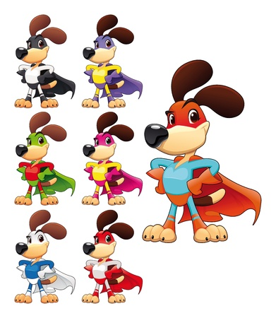 dog costume: Funny dog super hero. Vector cartoon isolated characters