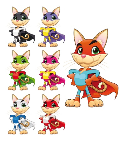 cape: Funny cat super hero. Vector cartoon isolated characters