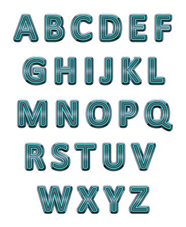 Metallic alphabet. Vector isolated letters. Illustration