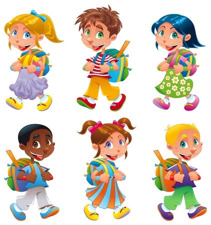 Los niños y las niñas van a la escuela. Divertidos dibujos animados y personajes de vectores