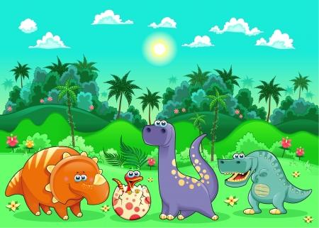 dinosaurio caricatura: Dinosaurios divertidos en el bosque. Historieta y la ilustraci�n vectorial