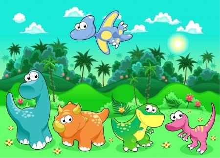 cute dinosaur: Dinosaurios divertidos en el bosque. Historieta y la ilustraci�n vectorial