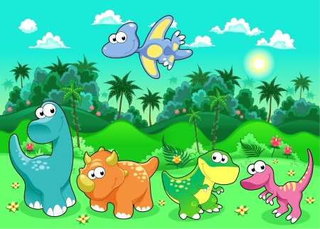 baby cartoon: Funny dinosaurs in the forest. Cartoon and vector illustration Illustration