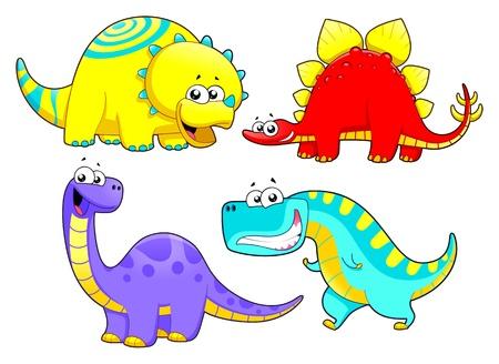 prehistoria: Dinosaurios dibujos animados y personajes de la familia Gracioso Vectores
