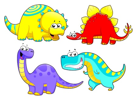 Dinosaurs Family  Funny cartoon and characters  Vector