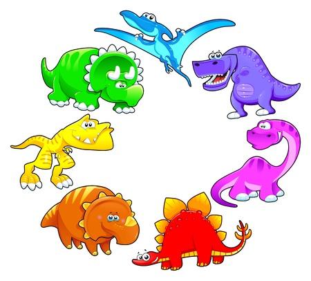 arcoiris caricatura: Los dinosaurios del arco iris. Divertidos dibujos animados y personajes aislados