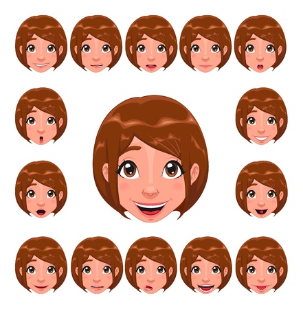 Girl expressions with lip sync. Funny cartoon and isolated character.  Vector