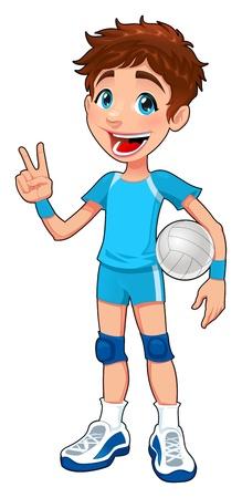 pallavolo: Giovane giocatore di pallavolo. Divertenti cartoni animati e carattere isolato. Vettoriali