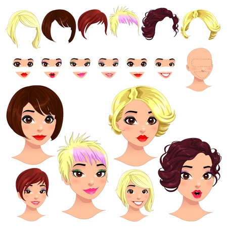 Fashion female avatars. 6 hairstyles, 6 eyes, 6 mouths, 1 head, for multiple combinations.