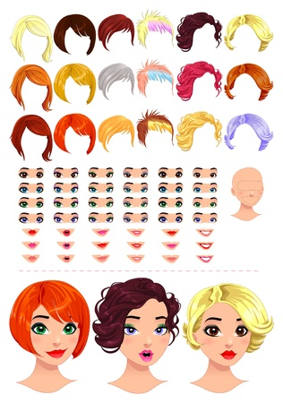 Fashion female avatars. 18 hairstyles, 18 eyes, 18 mouths, 1 head, for multiple combinations. In this image, some previews.  isolated objects. Vector