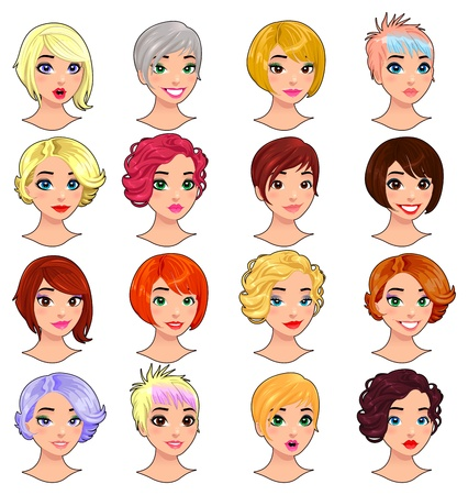 Fashion female avatars. hairstyles, eyes and mouths are interchangeable. isolated objects. Illustration