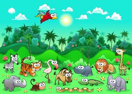 Jungle Animals. Funny cartoon and vector illustration. Vettoriali
