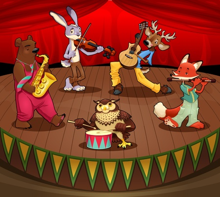 fable: Musician animals on stage.  Illustration