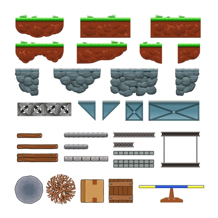 Platforms and items for games. Vector isolated objects.