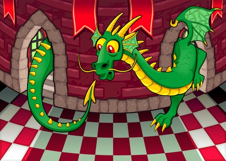 Inside the castle with dragon. Cartoon and vector illustration.  Vector