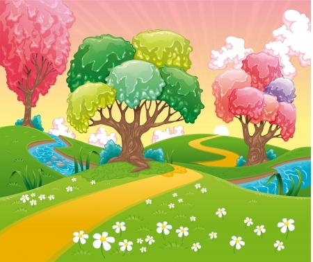 bucolic: Paesaggio di fantasia divertente fumetto e illustrazione vettoriale Vettoriali