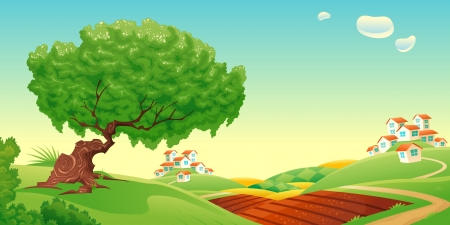 Countryside  Vector and cartoon landscape