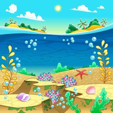 Under the sea  Vector and cartoon illustration  Vettoriali