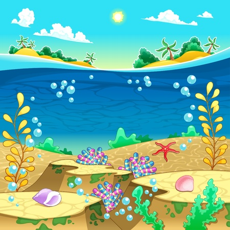 Under the sea  Vector and cartoon illustration  Illustration