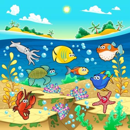 paesaggio mare: Famiglia di pesci divertente in mare. Vettoriali e fumetto illustrazione. Vettoriali